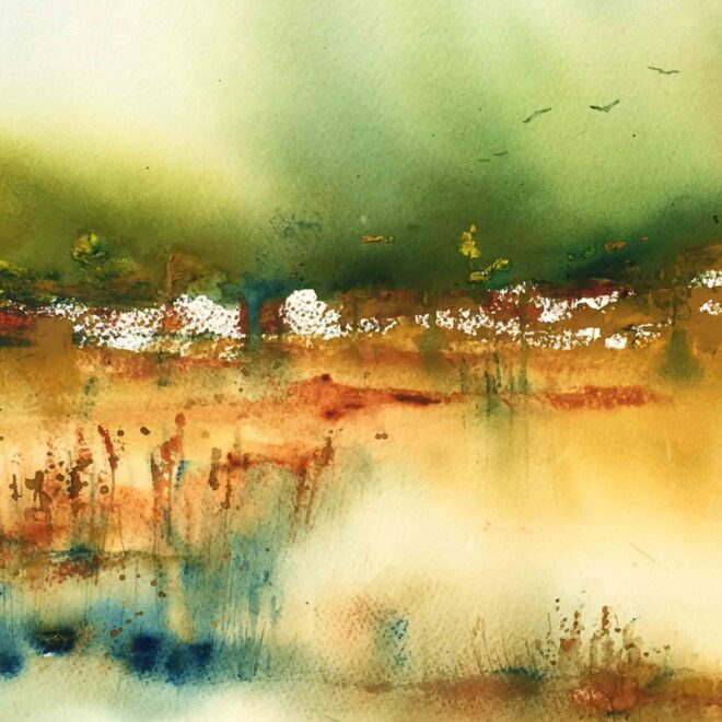 Across Lackford reeds by Penny Newman