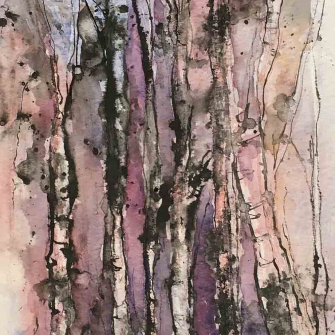 Birches in the wind by Penny Newman