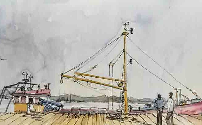 Boats at Wexford harbour by Penny Newman