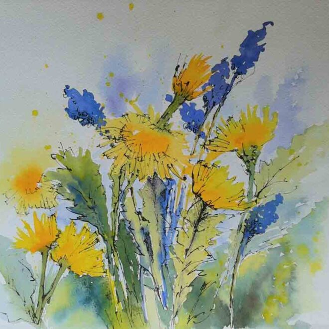 Dandelions and blue by Penny Newman