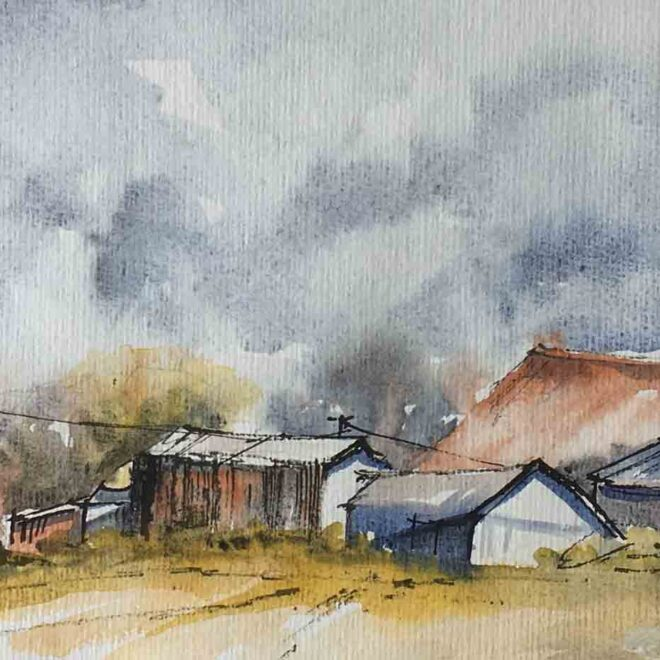 Storm over the farm by Penny Newman